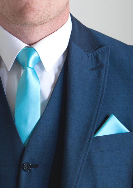 Light Teal Tie & Pocket
