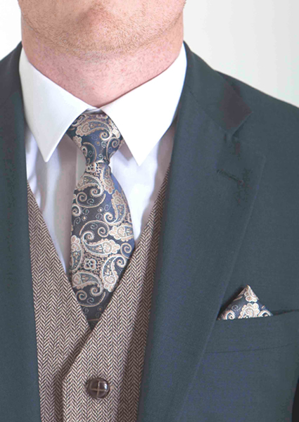 Navy & Ivory Paisley Tie & Pocket