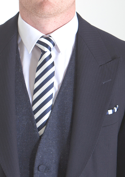 Blue Candy Stripe Tie & Pocket