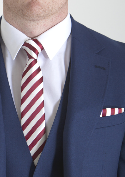 Red Candy Stripe Tie & Pocket